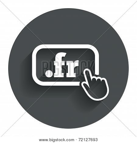 Domain FR sign icon. Top-level internet domain symbol with hand pointer. Circle flat button with shadow. Modern UI website navigation. Vector poster