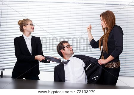 Women Fighting For A Man In Office