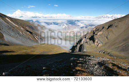 View From Thorung La Pass Annapurna Himal To Dhaulagiri