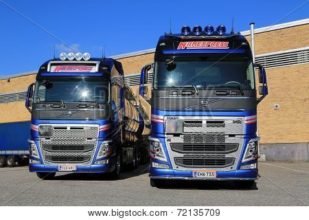 Two New Volvo FH TankTrucks By A Warehouse