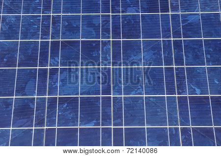 Solar Panel Closeup  In Sunny Day