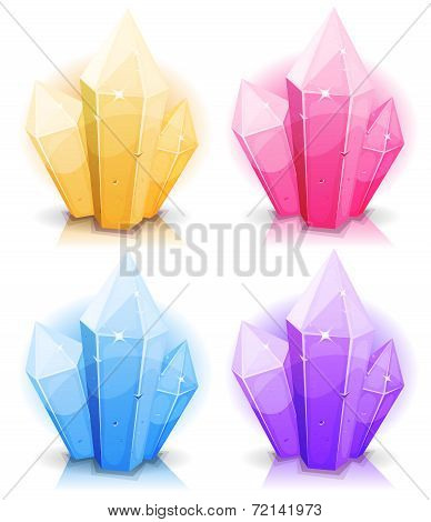 Illustration of a set of glossy and bright cartoon gems stones diamonds minerals and jewels poster