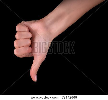 Disapproval - thumbs down hand sign