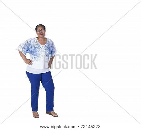 Attractive older woman isolated on a white background