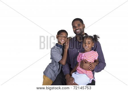 A dad bonding with his children on a white background