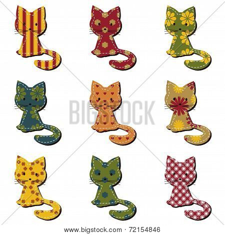 nice scrapbook cats on white beckground vector poster
