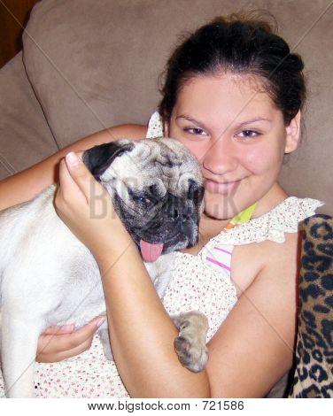 Girl and Her Pug