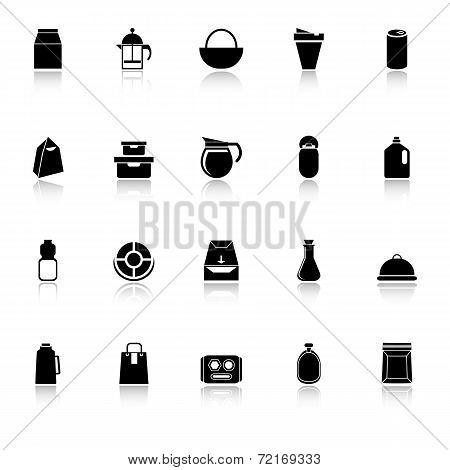 Variety Food Package Icons With Reflect On White Background