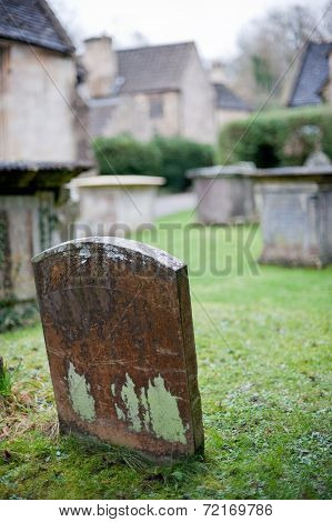 Single tombstone on a cemetery