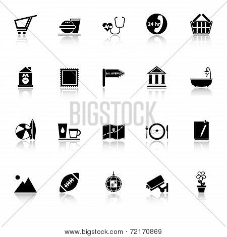 Public Place Sign Icons With Reflect On White Background