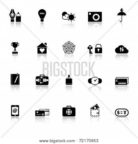 Insurance Sign Icons With Reflect On White Background
