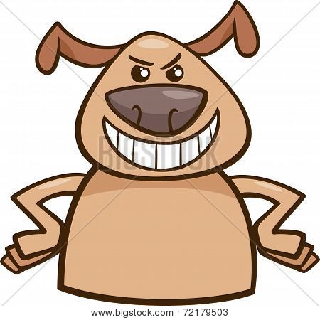 Cartoon Illustration of Funny Dog Expressing Cruel or Malicious Mood or Emotion poster