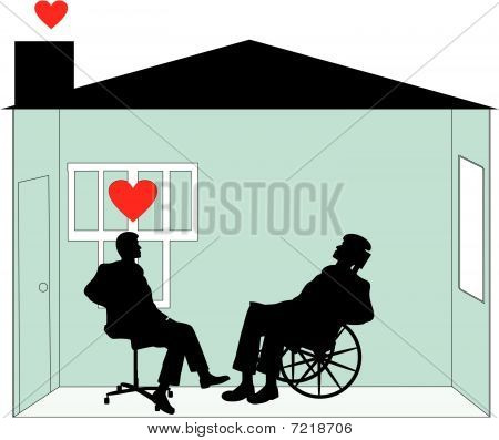 Rehabilitation and home care in your home illustration