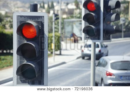 Traffic Lights On A Road Crossing