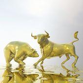 Digital 3D Illustration of Bull and Bear poster