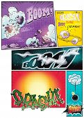 Image comic book pages with different background comic strips and various inscriptions boom poster