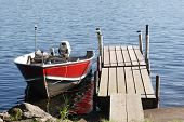 fishing boat parked at dock in the summer poster