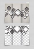 Tri-fold brochure template design with brown squares poster