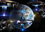 Alien spaceship fleet nearing Earth, for futuristic, fantasy or interstellar deep space travel or video-game war backgrounds. poster
