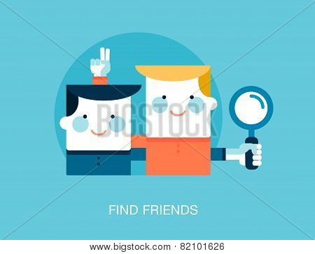 Concept Of Looking For Friends On The Internet