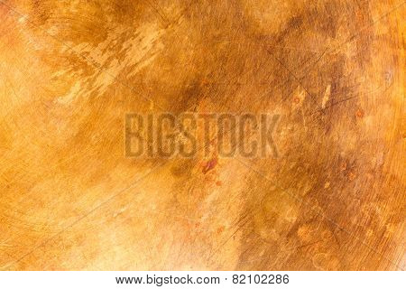 Stained and scratched old copper metal plate texture poster