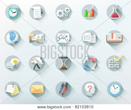 Set of 20 flat bussiness icons. Vector.
