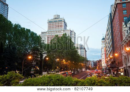 Night City View Traffic With Edificio Espana On Background In Madrid