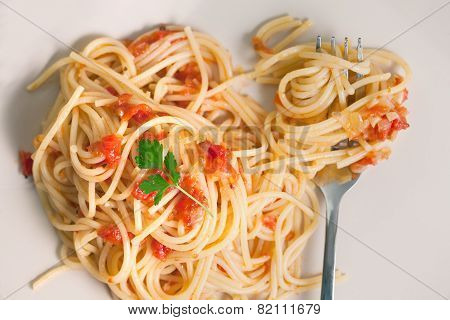 Spaghetti Milanese With Fork On Plate