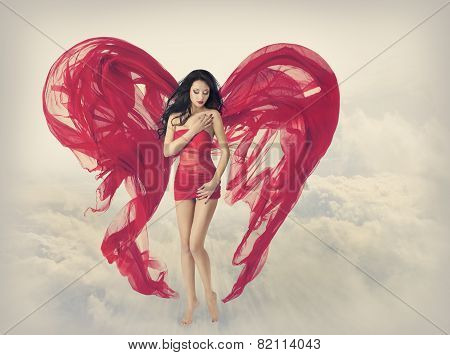 Woman Angel Wings As Heart Shape Of Fabric Cloth, Fashion Model Girl In Flying Red Dress
