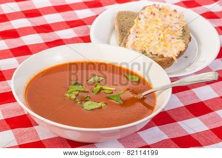 Creamy Tomato Soup And Pimento Cheese Sandwich