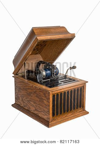 Cylinder Phonograph Isolated On White