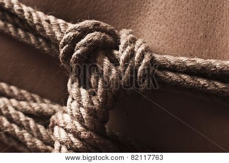 Detail Of Rope Node On Japanese Bondage Takate Kote / Bdsm Theme