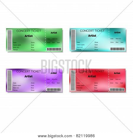 Set of color blurred concert tickets.
