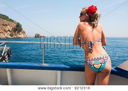 Young Woman On Yacht