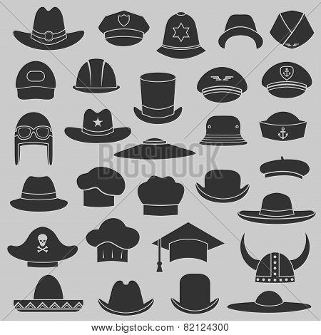 vector set hat and cap