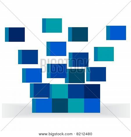The disassembled dark blue cubes