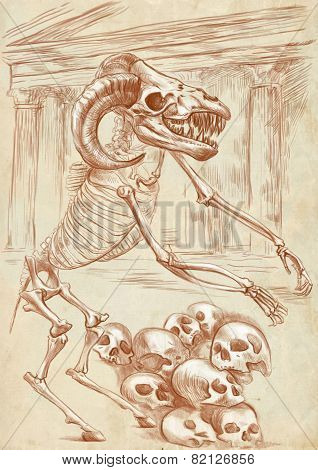 Illustration of a series of legendary animals and monsters (skeleton): MINOTAUR. An hand drawn and painted full sized illustration (Original). Version: Drawing on old paper. poster