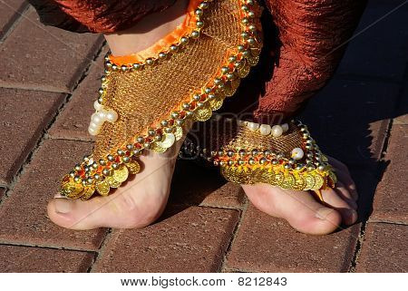 Feet And Decorations Of The Indian Woman