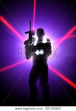 Abstract laser tag poster or flyer background with empty space poster