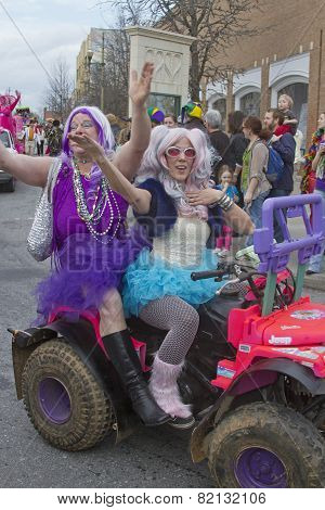 Hamming It Up In The Mardi Gras Parade