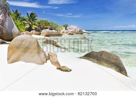 Granite Rocks And Perfect Beach, La Digue, Seychelles