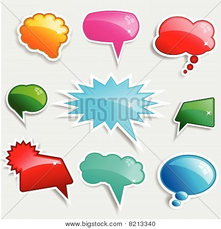 Glossy Speech Bubbles With Shadows
