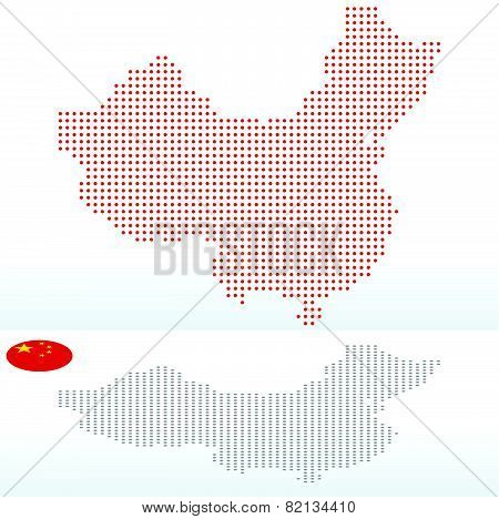 Map Of People's Republic Of China With With Dot Pattern