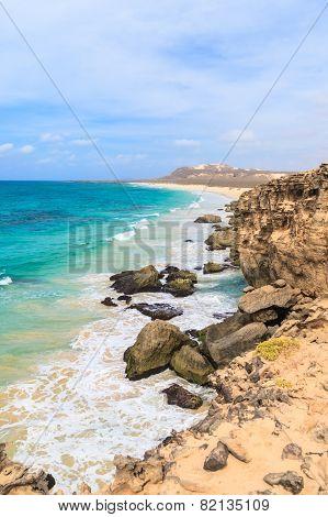 Landscape With Beach, The Sea And The Clouds In The Blue Sky, Boavista - Cape Verde