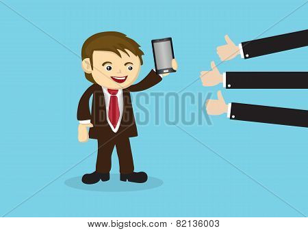 Businessman Selling Mobile Phone To Positive Reviews