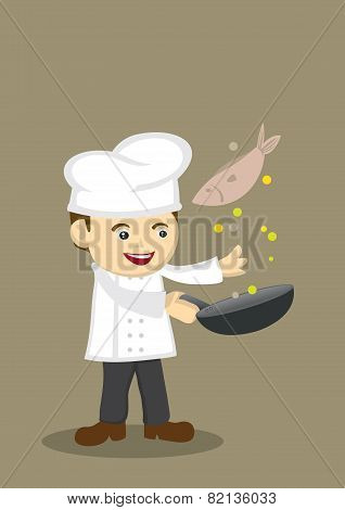 Cute Cooking Chef Vector Illustration
