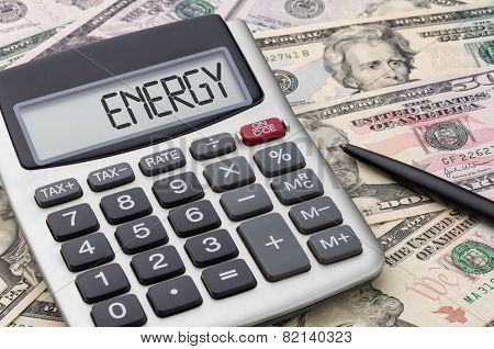 Calculator with text on the display - Energy
