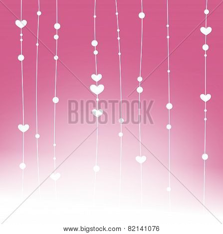 Beautiful Hearts And Dots Dangle Garlands Background