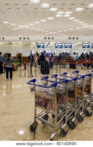 Mumbai, India - January 5, 2015: Passenger In Chhatrapati Shivaji International Airport.