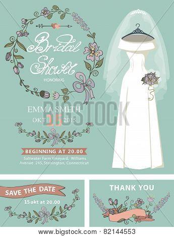 Bridal shower invitation set.Wedding dress,floral decor